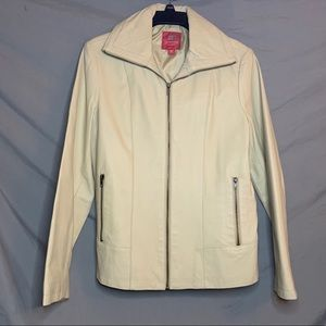 Vintage Faded Glory Beige 100% Leather Jacket